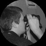 Derwyn Lear with Binoculars